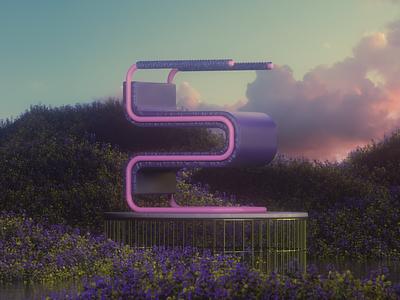 Letter E 36daysoftype 3dtypography letter e clouds sky typography art chair design architecture design landscape 3d art 3d modeling 3dtype design render cgi camilociprian 3d c4d