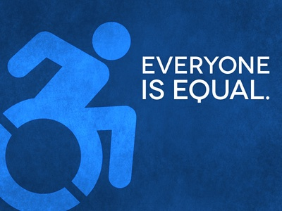 Everyone is Equal. equality symbol of accessibility accessibility handicap symbol blue texture