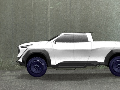 Concept Pickup Truck & Trailer for Animation off-road 4x4 trailer forest wheels automobile automotive tech future vehicle animation concept design truck digital painting drawing illustration graphic design design art direction