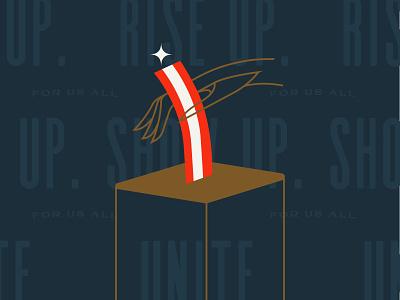 Rise Up 2020 - GO VOTE NOW! stripes voting vote blue biden unite show up riseupshowupunite rise up election 2020 vote hand drawing hand drawn typography illustration graphic design design art direction