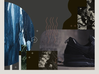 Athletic Footwear Collage I. corporate environmental recycle exploration environment design sustainability fashion shoes gritty mixed media texture print design visual design collage apparel footwear branding graphic design design art direction