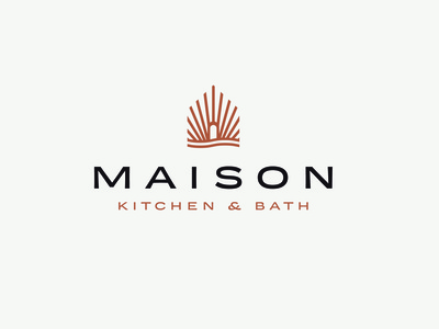 Maison Kitchen & Bath - Logo I. extended font bathroom water icon logo design rebrand shine wave identity design light house home bath interior design kitchen logo branding graphic design design art direction