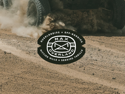 Max Overland - Logo Design I. terrain mountains overland max emblem design logo design trucks nature outdoors off-road off-roading patch michigan hand drawn logo emblem branding graphic design design art direction