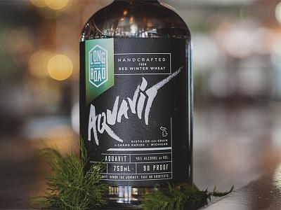 Aquavit Bottle Design - Long Road Distillers graffiti alcohol art direction packaging design spirits distilling gritty design packaging type long road distillers aquavit