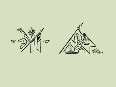 Sketches 1 -  Colonial Michilimackinac crest emblem fort colonial michigan mackinac historic state parks drawing sketches branding logo