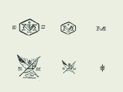 Sketches 2 -  Colonial Michilimackinac crest emblem fort colonial michigan mackinac historic state parks drawing sketches branding logo