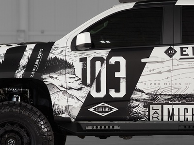 Michigan outdoor themed Truck - Shot 3 vehicle grand rapids drawing michigan state parks great lakes camping outdoors truck wrap colorado chevy truck illustration hand drawn typography full circle branding graphic design design art direction