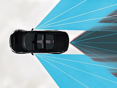 VROOM - Illustration texture tech industry technology drawing ipad pro future automotive tech full circle graphic design design art direction hand drawn procreate mirror vision car illustration