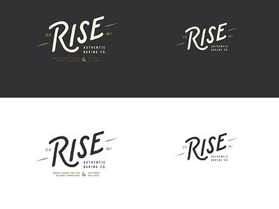 Rise Authentic Baking Co. - Responsive Logo lockups wordmark brand bakery rise emblem hand drawn typography art direction design graphic design branding logo design lockup logo