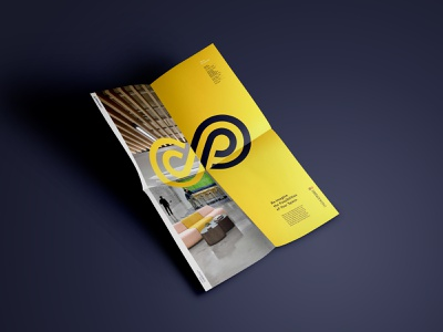 Folded Poster Takeaway for NEOCON 2019 leave behind office furniture neocon branding yellow furniture office design interior design poster design takeaway print design poster print logo full circle graphic design design art direction