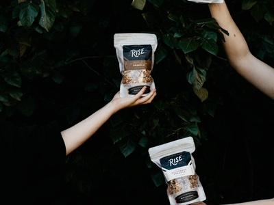 Rise Authentic Baking Co. - Brand Shots coffee labels stickers donuts gluten free black  white hand drawn bakery baked goods vegan baking rise brand packaging packaging design typography branding graphic design design art direction