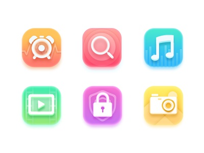 Colorful icon camera locks video glass magnifying clock music icon colorful