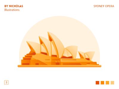 Sydney opera house opera sydney landmark projection illustrations illustration gradient building orange
