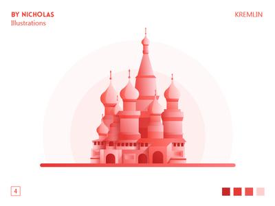 kremlin landmark russia kremlin projection mahal illustrations illustration gradient building red