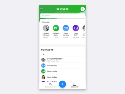 Connect App UI add contact call button plus ux ui clean color cards contacts green mobile