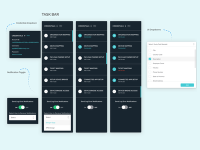 Task Bar dropdown sidebar done ux clean teal step by step breadcrumbs ui integrations mapping xively