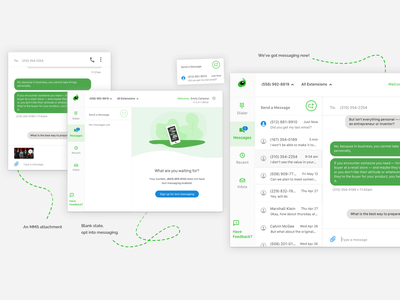 Grasshopper Desktop App green app ui clean mms voip blank state texting user ux logmein grasshopper concept app desktop application