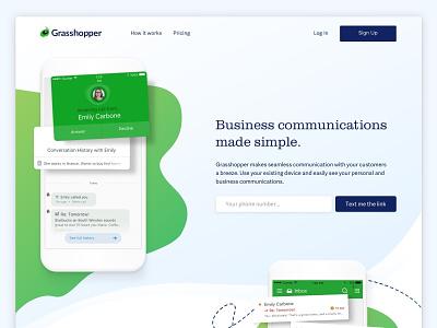 Landing Page web app design logmein clean ui ux brand grasshopper green landing page
