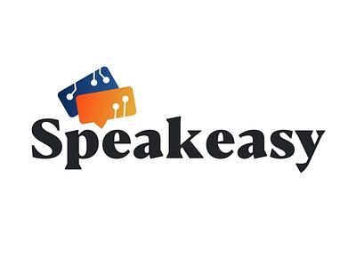 Speakeasy Logo typography black blue orange branding clean design speakeasy logo
