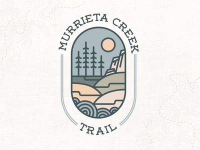 MURRIETA CREEK TRAIL hike nature yellow pine tree patch vector muted colors green blue typography illustration logo design icon camp logo trees hills mountains creek trail