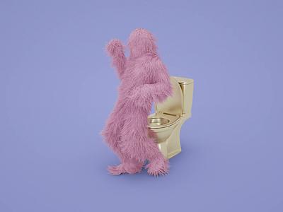 Woollen passion colorful yeti hair wool twerk dancer toilet dance 3d art digital art octane render 3d animation octane procedural experiment simulation c4d render 3d animation