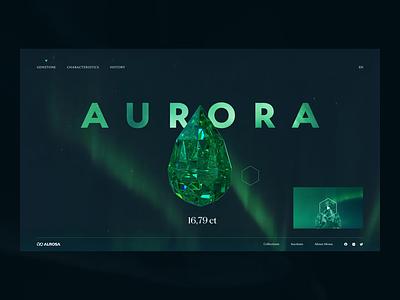 Aurora gemstone gem 3d render cinema 4d motion promo website interface video ux ui interaction typography animation web