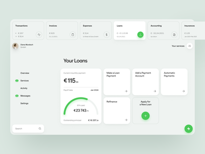 Finice dashboard software web app clean ux design layout web grid fintech ui ux website