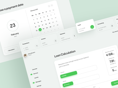Finice: loan calculator dashboard calendar finance fintech loan ui web design minimal layout web ux website