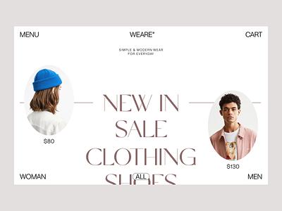 Weare wear ecommerce clothing store fashion website ux web layout presentation branding design art direction minimal typogaphy
