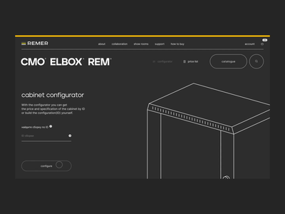Remer: Configurator cabinet configurator constructor layout design typography website ux web animation