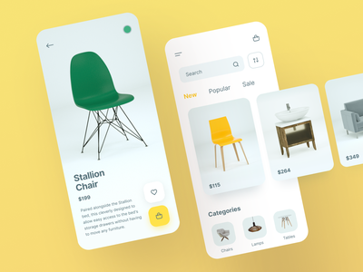 Furniture Catalogue App layout product design application app ux ui