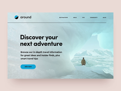 Around animation concept landing page web cave ice discover travel