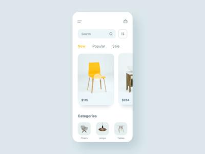 Tableflip e-commerce render 3d chair flip table interactions mobile furniture application app ecommerce shop ux ui animation