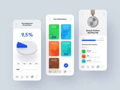 Moneybox product design product application app finance achievements ux ui ui design savings concept interface money clean