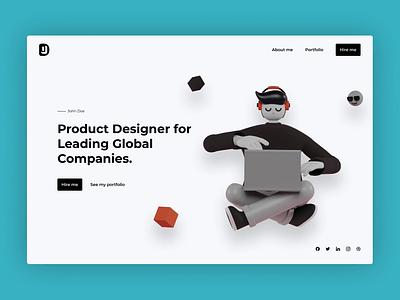 Hero for a Product Designer Website illustration ui  ux design animation prototype interface interaction ux ui figmadesign figma