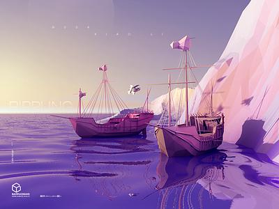 Rippling polygons aqua purple blue color matching boat c4d,illustration