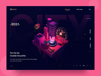 Dancing city color ue ui web design ferris wheel c4d city