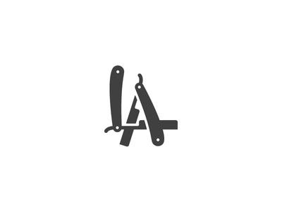 LA Logo sign symbol logo identity letter mark a l blade barbershop razor la