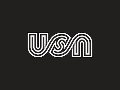 USA Mark letter typography monogram type mark usa ambigram logo