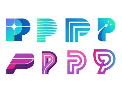 P Marks identity gradient logo mark p