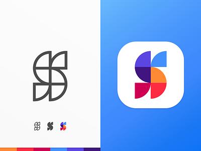 S Logo icon ios app symbol s monogram mark logotype logo letterform identity design