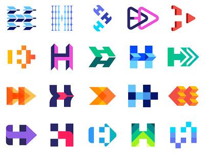 Arrow H logo branding company tech arrow h brand design graphic symbol identity mark logo