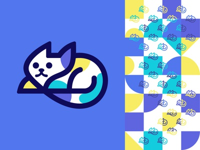 Cat logo design for sale playful animal character abstract geometric pattern cat logo mark brand identity