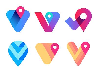 V pin marks symbol direct map digital marketing desktop mobile app icon for sale visual corporate identity brand branding modern virtual travel logo designer v pin logo mark