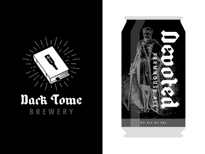 Devoted Farmhouse Ale beer can medieval typography branding logodesign logo brewery