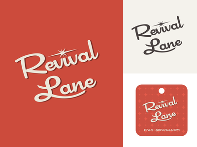 Revival Lane Logo / Hang Tag hang tag branding logo 60s 50s script atomic mcm mid century midcentury vintage retro revival lane