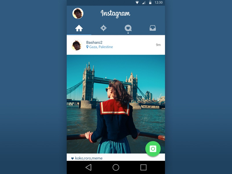 Instagram Material Design PSD ux freebie instagram mobile application android iphone ios layout interface ui app