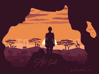 At Last: Africa -- Wanderlust flat illustration flatdesign flat design illustrations drawing illustration illustrator africa