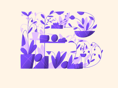 36 days of type - B floral alphabet design plants daily drawing letter organic composition flower ipad procreate illustration 36days lettering