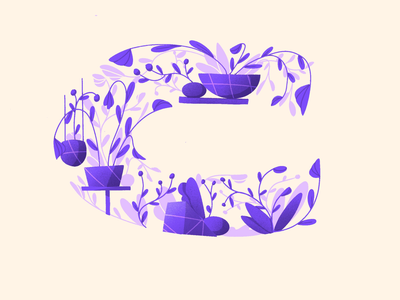 36 Days of Type - C flowers pot plant plants simple procreate drawing illustration purple flower organic composition letter 36daysoftype